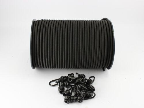 10mm Expanderseil schwarz 30m 10 Spiralhaken Gummiseil Planenseil Haken Seil