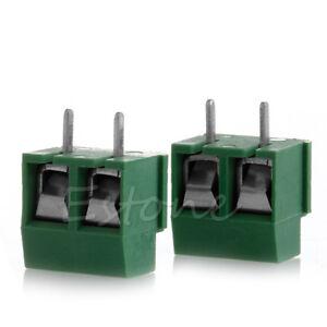 2pcs-300V-10A-2P-Male-PCB-Screw-Terminal-Block-Connector-5mm-Pitch-Green