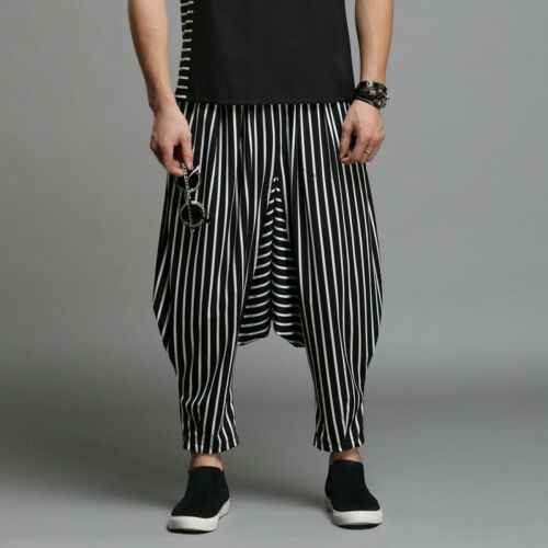 INCERUN Mens Striped Harem Pants Hippy Yoga Dance Plain Festival Baggy Trousers