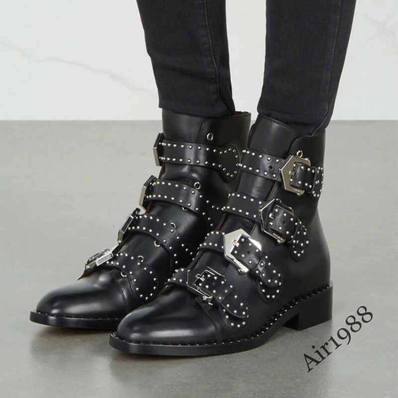Punk Womens Fashion Ankle Boots Biker Rock Buckle Leather Boots Rivet Gothic New