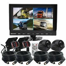 "4Pin Kit 9"" Split Monitor 4x IR CCD Camera Front+Reversing Camera For Truck Bus"