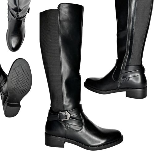 New Womens Knee High Boots Low Heel Casual Elasticated Panel Long Boots Size 3-8