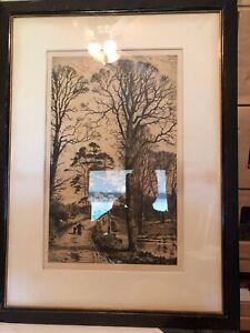 Frederick-Albert-Slocombe-Original-1800s-Etching-SIGNED-Framed