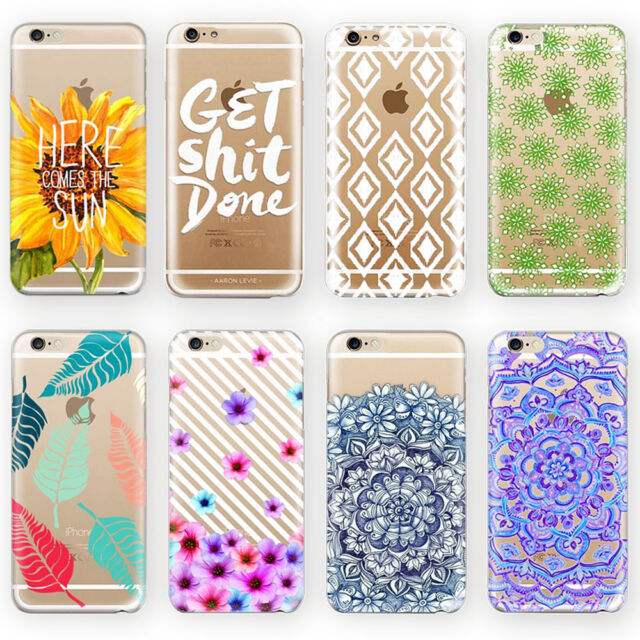 Fashion Pattern Painted Silicone Soft Transparent Case Cover For iPhone5 6 7plus