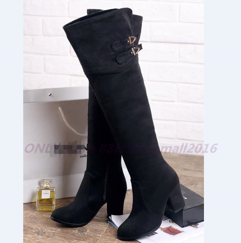 33-48 Elegant Stiefel Damenschuhe Pumps Hoch Blockabsatz Overknee Lange Stiefel