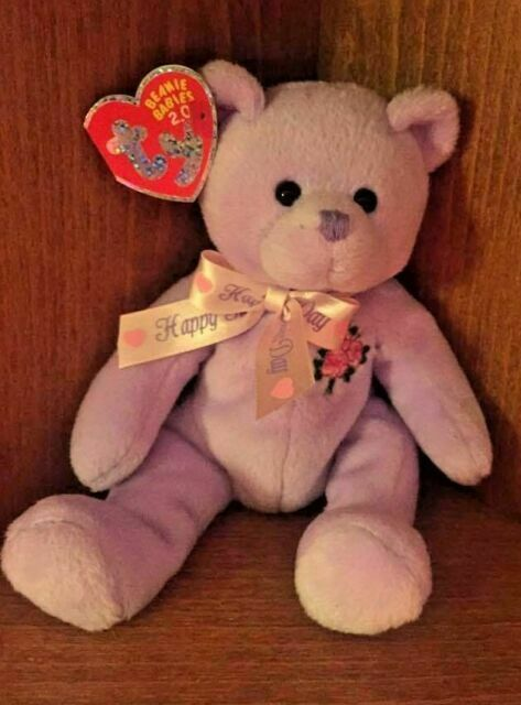Mint w// Tag 2006 Ty Beanie Babies Dear Grandma Mothers day bear w// flower