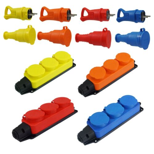 Rubber Coupling IP44 Schuko Plug 3-Fold Power Strip 230V Red Yellow Blue