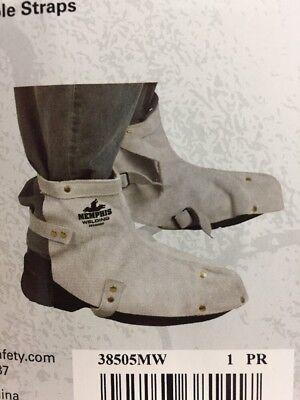 Beducht Memphis Split Leather Welding Shoe Protector Metal Shop Arc Torch Diy 1 - Pair