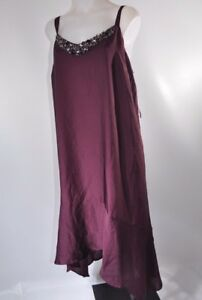 Lane-Bryant-Plus-Size-Dress-Purple-Merlot-Handkerchief-Rhinestone-Neckline-20W