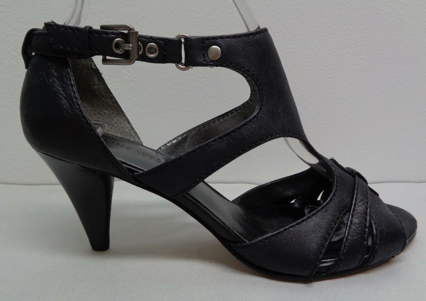 Nine West Size 6 M LESTYLE Black Leather Heels Heels Heels Sandals New Womens shoes a281a9