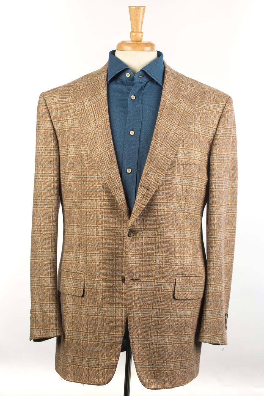 D'Avenza Braun Light Blau Plaid Wool Cashmere 3/2 Button Sport Coat 50 IT 40 US