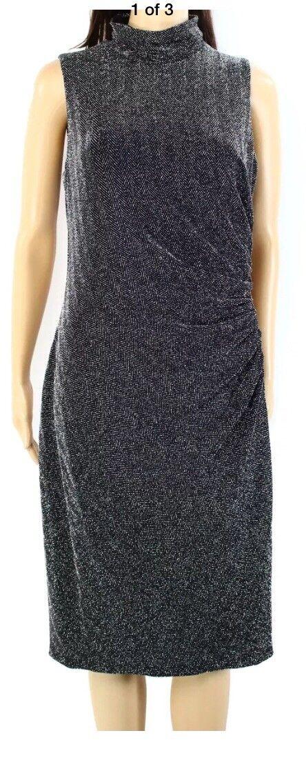 Lauren Ralph Lauren NEW schwarz Woherren Größe 12 Metallic Sheath Dress