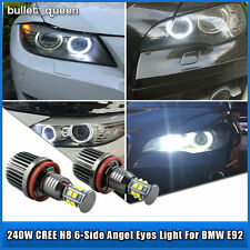 2X120W Cree BMW H8 White HID 6000K Angel Eye Halo Ring LED Bulb Light For E92
