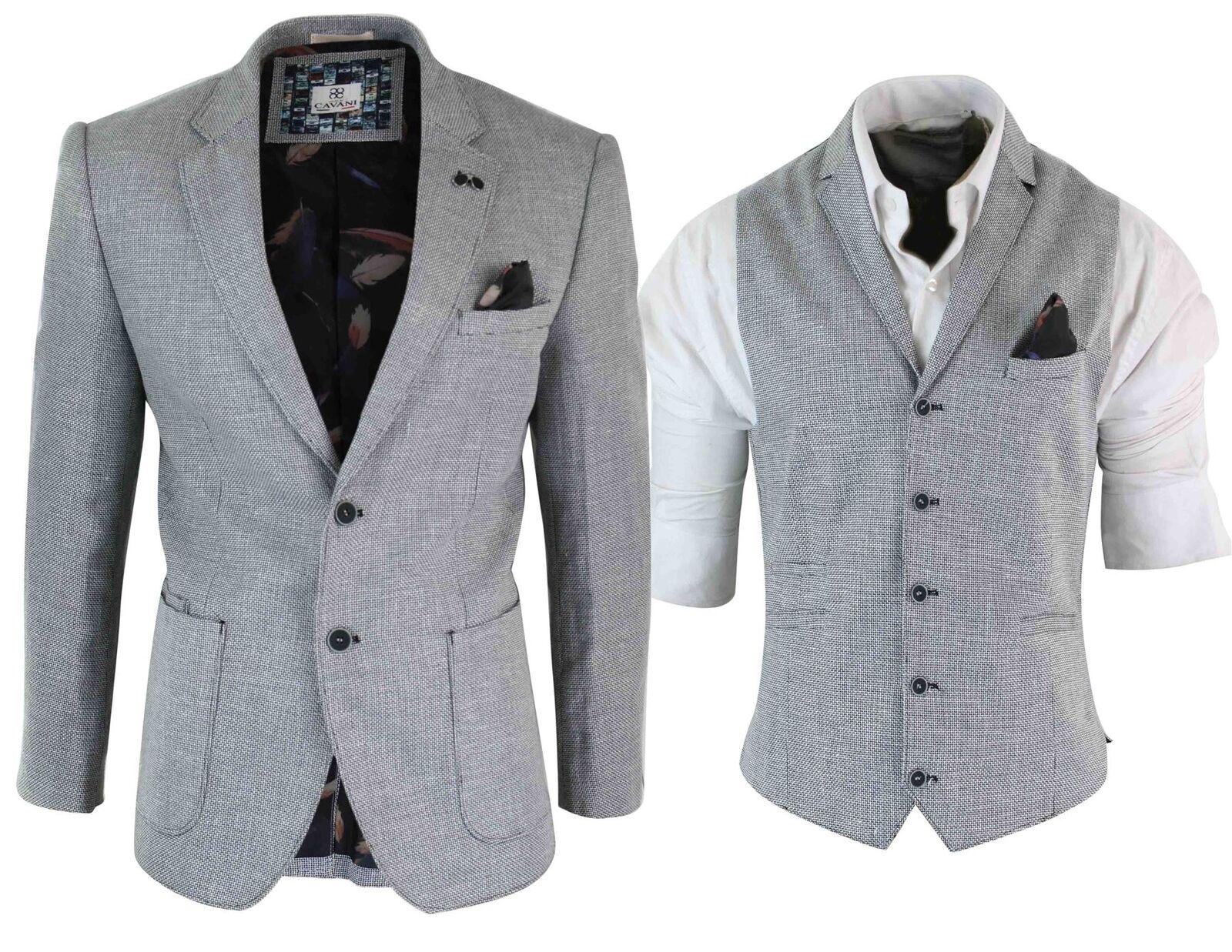 Herren Cotton Linen Light Grau Smart Casual Blazer or Waistcoat TailoROT Fit