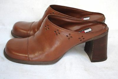 TOMMY HILFIGER, LEATHER UPPER MULES SHOES/HEELS SIZE-7.5M