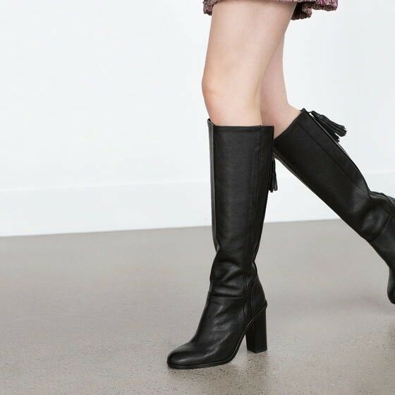 NWT ZARA KNEE HIGH HEEL HEEL HEEL LEATHER bottes Sz US 7.5  EUR 38 UK 5 REF. 6012 001 noir ebc123