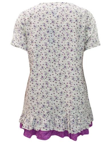 Eaonplus Neu Reine Baumwolle Blumenmuster /& Lochstickerei Top Größen UK 18 bis
