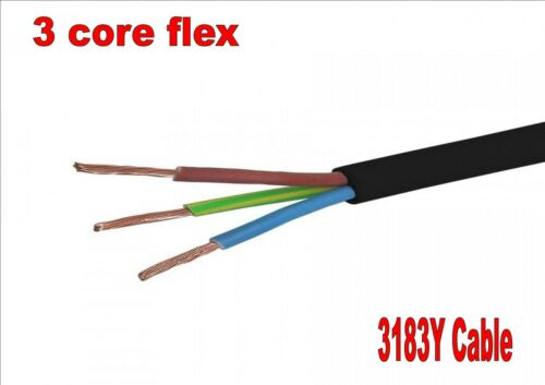 F black 3 core flex cable 0.75mm 1mm 1.5mm 2.5mm lighting socket electrical