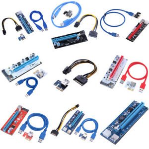 7f4a676a48d PCI-E Riser Card 1x to 16x USB 3.0 VER 008C 007S 008S 009S Mining ...