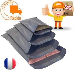 Lot de 100 sacs d'expédition postale en plastique gris pour envoi de colis