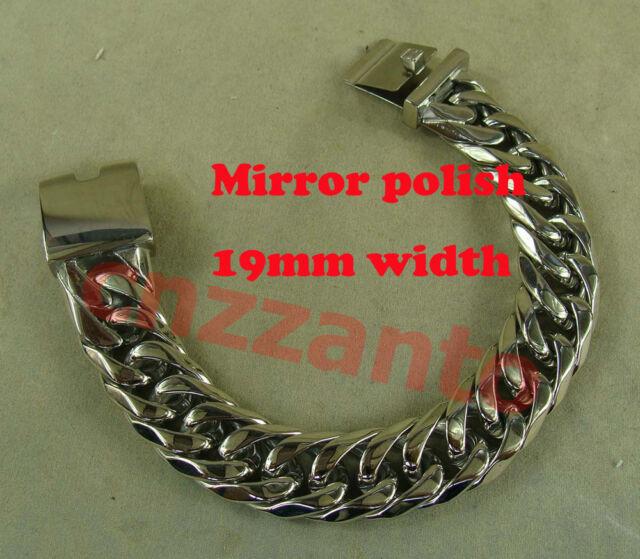 316L Stainless steel mirror finish Men's Punk Biker Bracelet Hand Chain