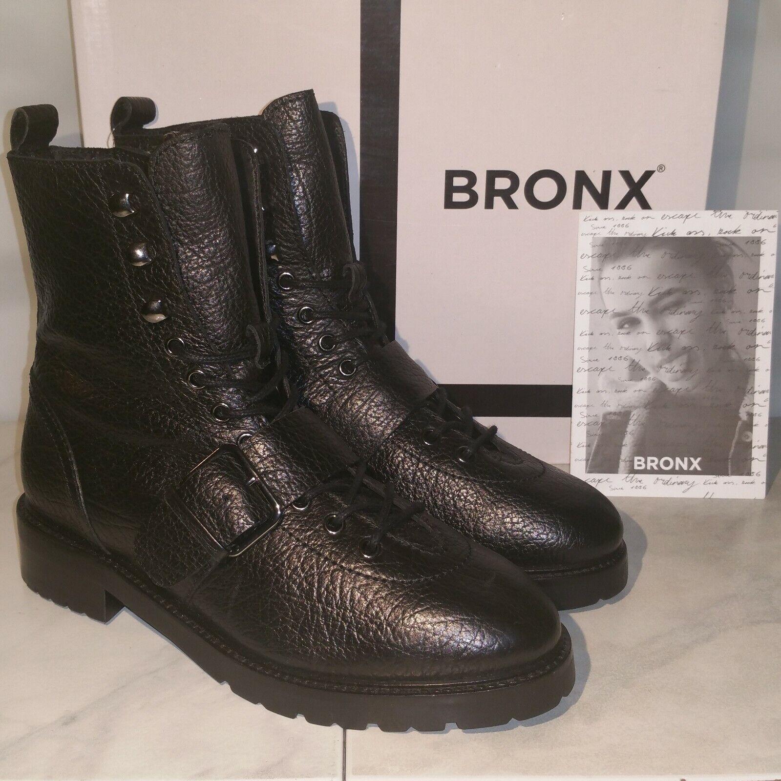 NEU BRONX 41 Stiefel Stiefel Stiefeletten Schuhe Biker Ankle Gothic Leder schwarz