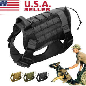 Tactical-K9-Training-Dog-Harness-Military-Police-Adjustable-Molle-Nylon-Vest-US