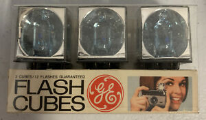 Vintage GE Flashcubes  Set Of 3 Cubes New in Origianl Package 12 Flashes