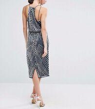 Branded TALL Drape Back Pencil Dress Chevron Embellishment UK 16/EU 44/US 12