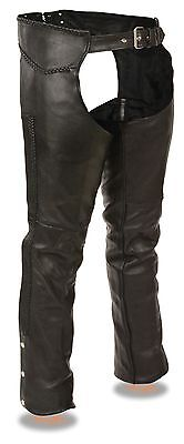 Fully Lined Men/'s Naked Cowhide Leather Chaps w// Full Braiding Detail