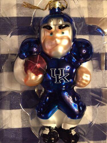 University of Kentucky Wildcats Football Player Blown Glass Ornament