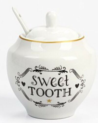 Dent Sucrée porcelaine blanche Sugar Bowl Basin-Pot avec un correspondant à cuillère
