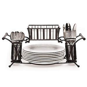 Black Buffet Caddy Plate Flatware Holder Napkin Basket Utensil Table ...