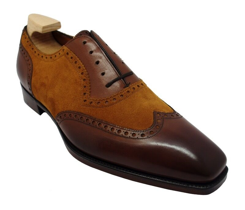 GAZIANO & GIRLING ASTAIRE SHOES IN VINTAGE CEDAR CALF  FOX SUEDE