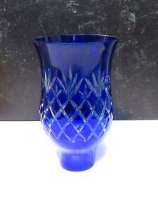 Bohemian Glass Hurricane Lamp Shade, Blue Hurricane Lamp Shade