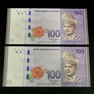Malaysia RM100 100 Ringgit 12th Series First Prefix UNC banknote (AA2945401-402)