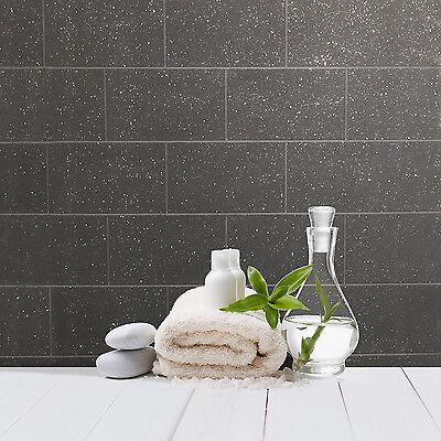 Kitchen and Bathroom Black Glitter Tile Wallpaper London Brick Tiling M1055