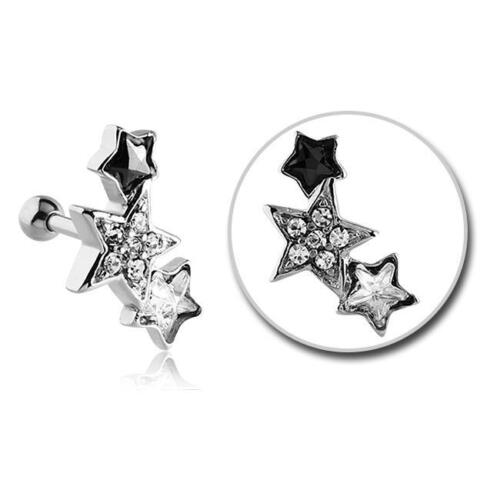 316L Surgical Steel Ear Cartilage Helix Tragus Earring Ring Stars 16G