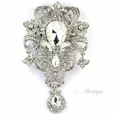Bridal Wedding Prom Large Vintage Style Silver Crystal Hair Comb Slide HC32