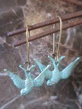 Bronze Vintage Green Verdigris Patina Swallow Love Bird Earrings-Wedding