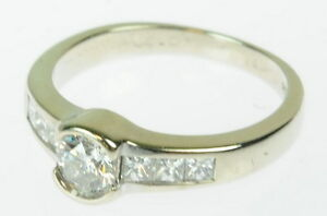 5d1296085f5e4 Details about Ladies 14K White Gold Shane Co Diamond Engagement Ring 152542