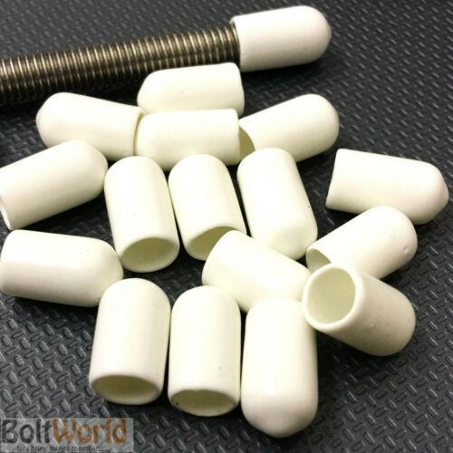 ROD BAR STUDDING STUD SCREWS BOLTS CABLE SAFETY VINYL THREAD COVER CAPS WHITE