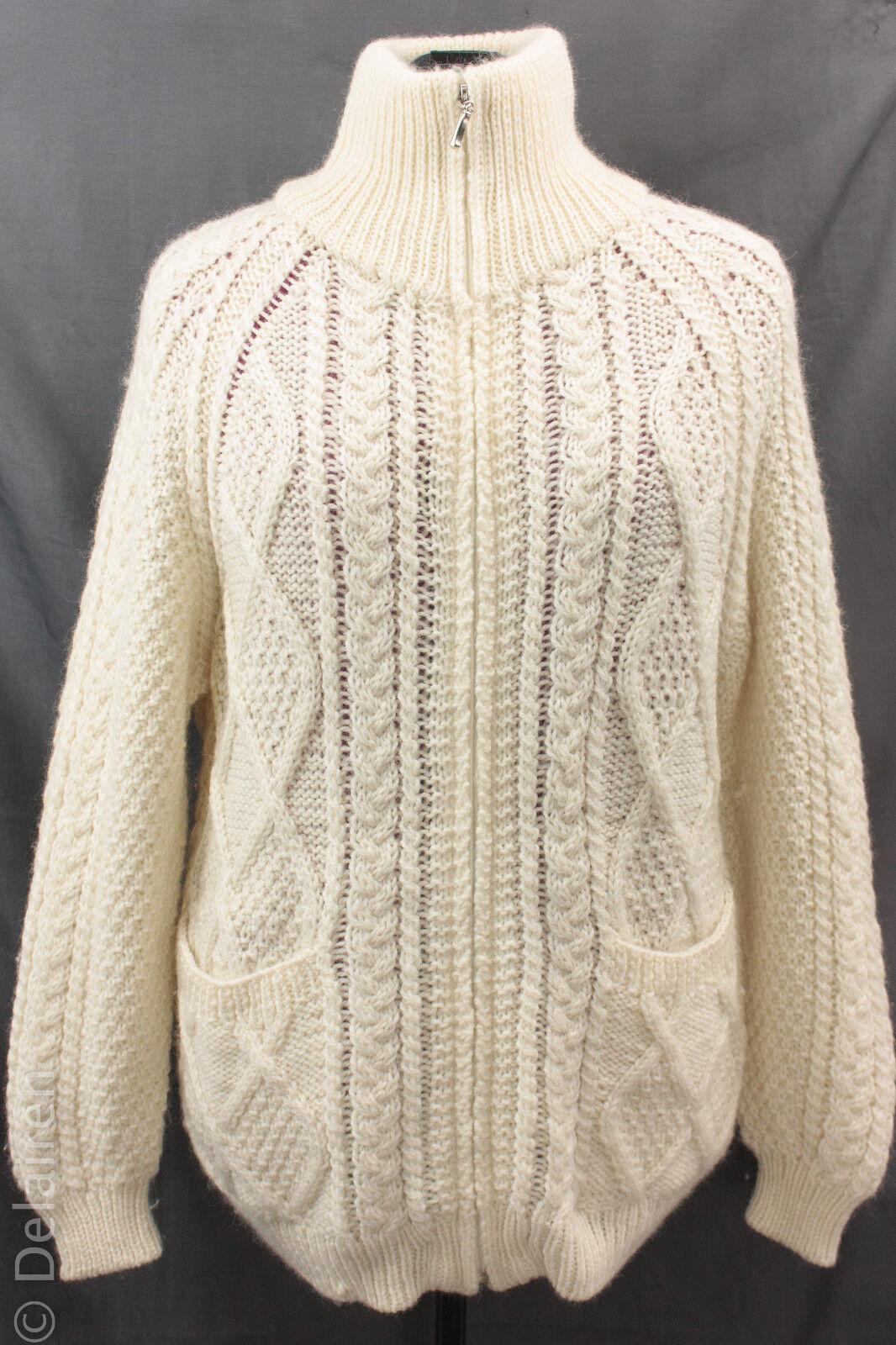 Aran Crafts 100% Merino Wool Irish CableKnit Chunky Fishermens FullZip Sweater M