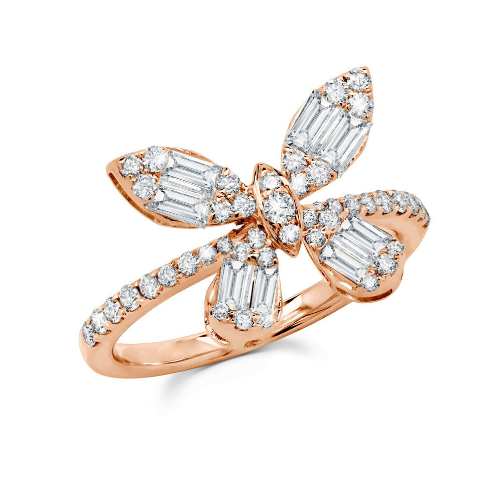 0.97 CT Baguette Round Cut Natural Real Diamond 14K pink gold Butterfly Ring
