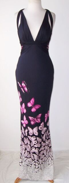 VERSACE Black Silk Low Cut Butterfly Print Open Back Dress Gown 42 4 6