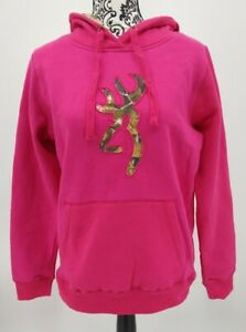 Browning Women's Buckmark Camo Sweatshirt Hoodie Fuchsia M or L NEW