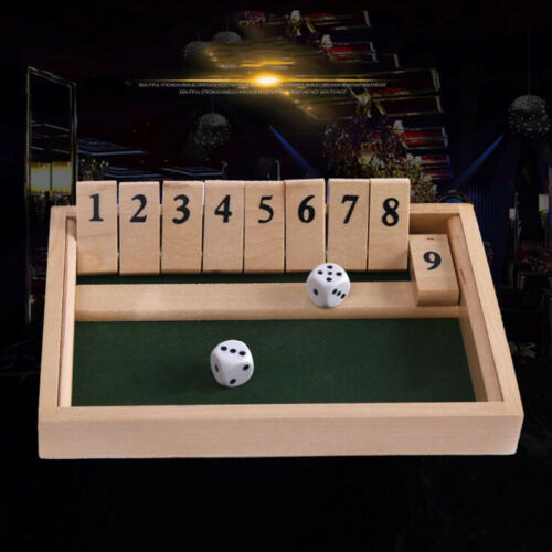 Traditional Wooden Shut The Box Board with 2 Dice /& 9 Numbers Bar Table Games US