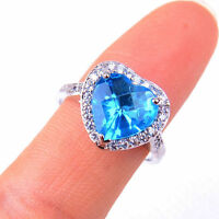 925 Sterling Silver Lovely Bule Large Crystal Heart Ring Size 6-9 Jewelry H1097