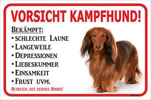 15x20-40x60cm Dackel Langhaar Rot Schild Vorsicht Hier Wache Ich