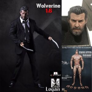 1-6-Scale-Wolverine-Logan-Black-Suit-Clothes-Set-Claws-Head-Fit-12-034-Figure-Body